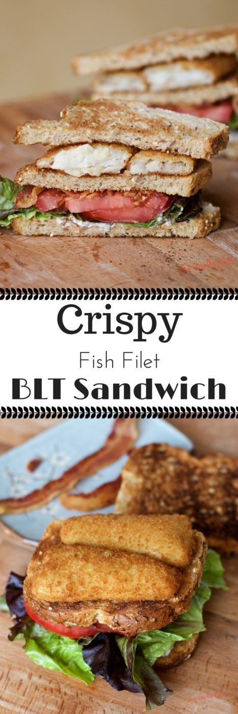 When a traditional BLT is not enough for your lunch and your fish on Friday meal need a fresh twist, make this easy recipe for crispy fish filet BLT sandwich. Tender pollock fish that is sustainably caught, along with crisp bacon, freshly sliced tomatoes