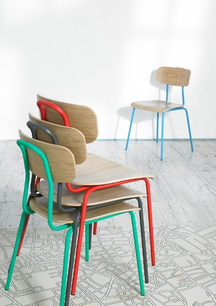 Hester dining chairs. Bringing back nostalgia 'school like' designs and vibes of Amsterdam cafes.