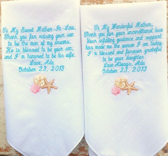 2 Mother in Law and Mom  wedding handkerchief by HeirloomWeddings, $44.00