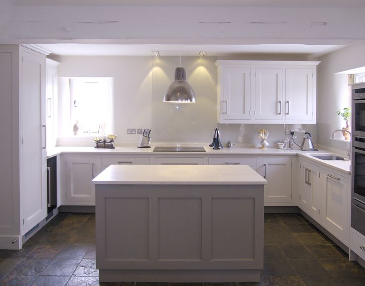 Farrow & Ball Skimming stone 241 - main kitchen. Farrow & Ball Charleston Grey 243 - island unit,