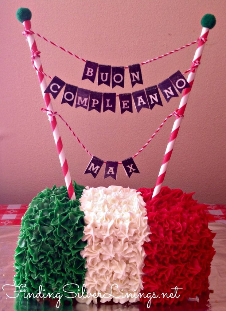 Italian flag smash cake with D-I-Y bunting cake topper