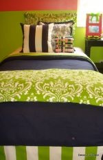 lime and navy dorm room bedding