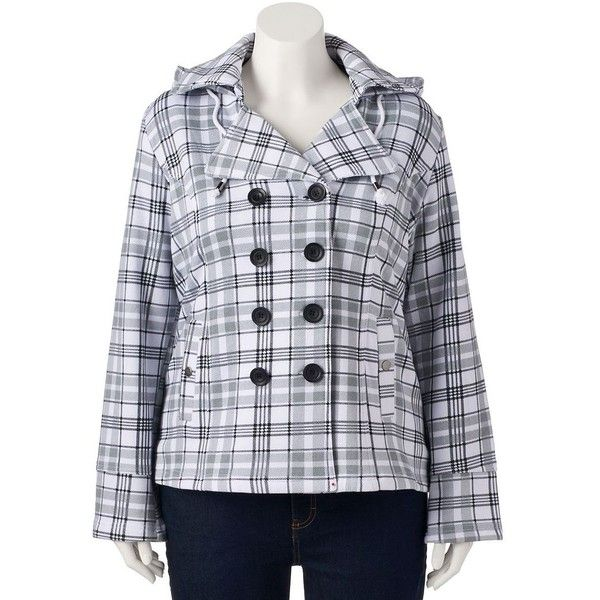 Plus Size Sebby Hooded Fleece Plaid Double-Breasted Peacoat ($60) ❤ liked on Polyvore featuring outerwear, coats, plus size, white gray plaid, white coat, plus size hooded coat, plus size peacoat, fleece coat and plus size coats