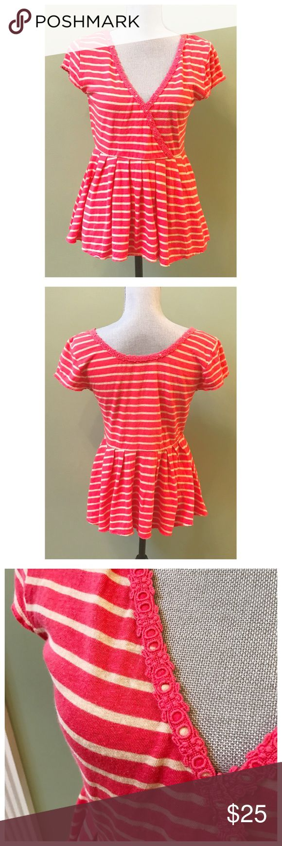 Free People Striped Babydoll Top Excellent condition! Flattering Babydoll shape with sexy v-neck. Only flaw is that the inside brand label has black marker on it. Free People Tops