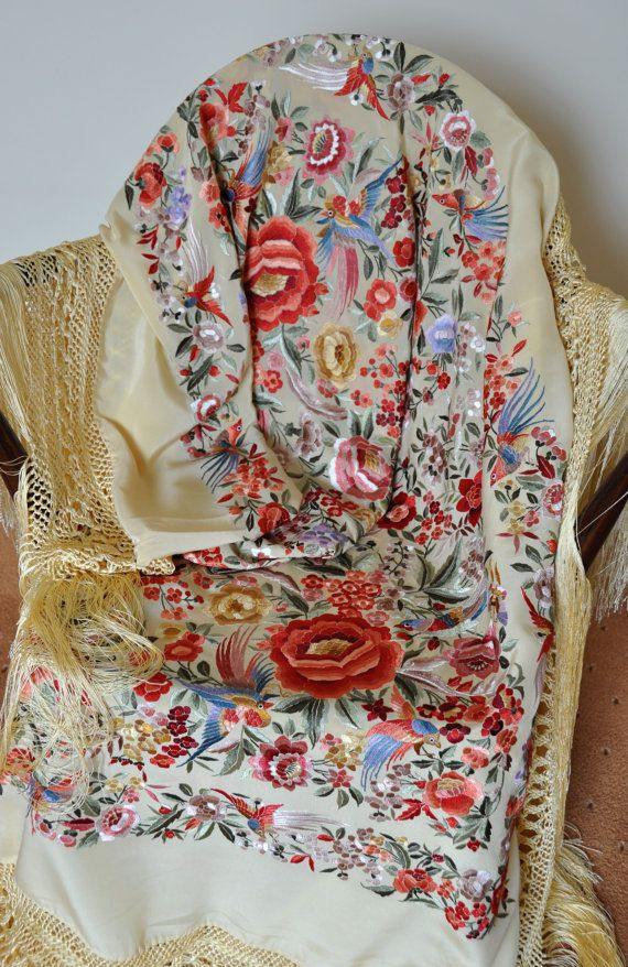 Wow! Now THIS is a shawl.  Collectable hand embroidered spanish silk flamenco piano shawl, mantones, dance wear