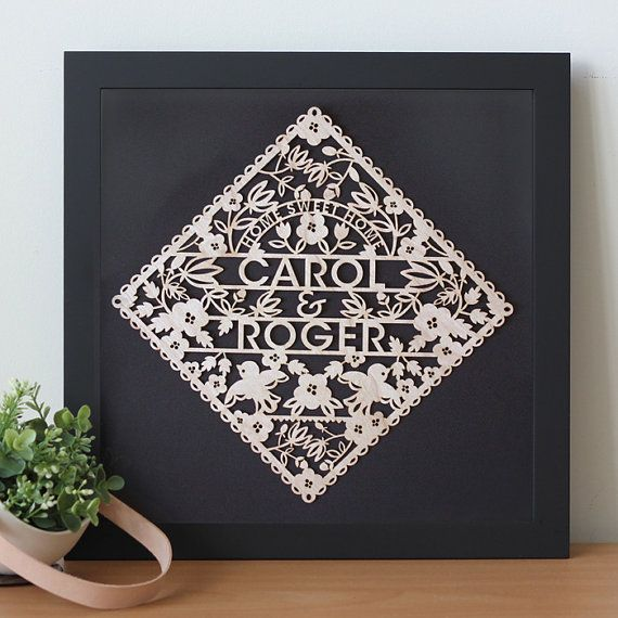 Personalized Floral Wedding Gift - Custom Laser cut with the name of Bride and Groom - papercut poster