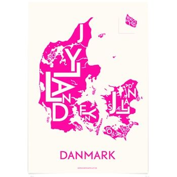 Map of Denmark - made by Kortkartellet. It comes in different colours, and they even make maps of Berlin, Paris and Scandinavia.