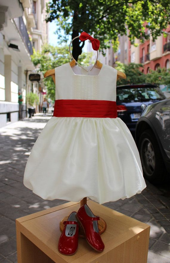 Ivory flower girl dress! In amezing ivory shantung, with belt and great back bow, girl wedding dress,Christmas girl dress,Holiday girl dress
