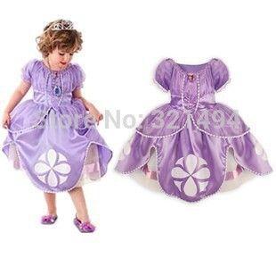 2015 новых стилей свободного покроя мультфильм девочка платье софия принцесса фиолетовый пышное платье большие лепестки царевна софья бесплатная доставка