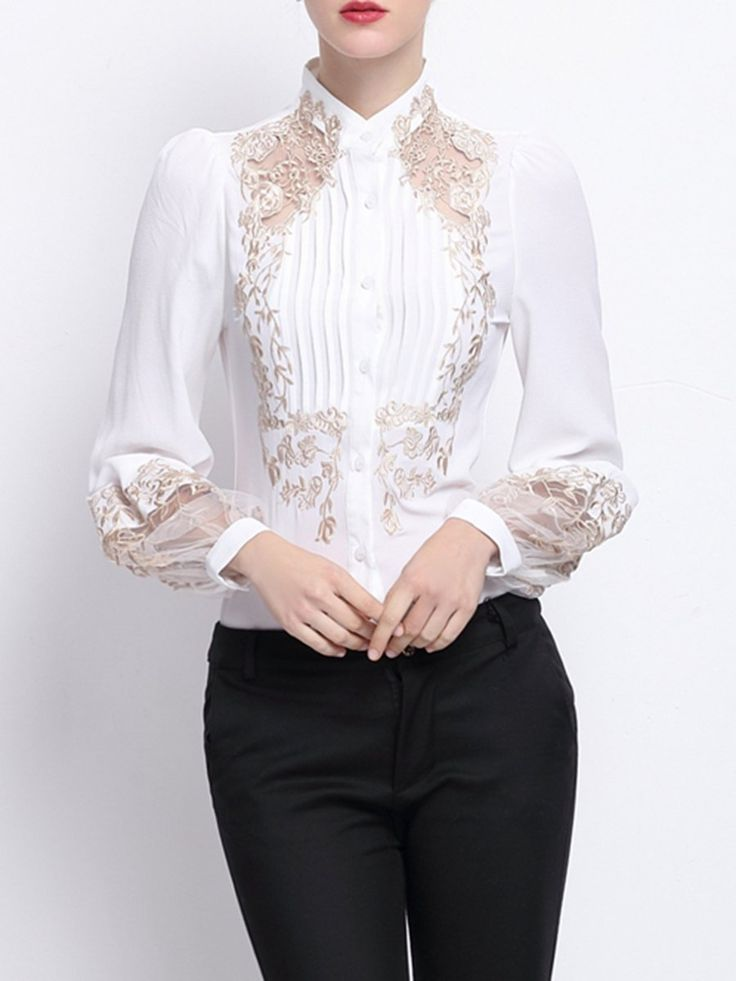 Shop Blouses - Black Embroidered Shirt Collar H-line Long Sleeve Blouse online. Discover unique designers fashion at StyleWe.com.
