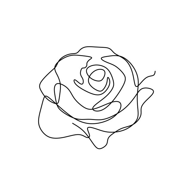 Flower Continuous One Line Art Drawing Vector Illustration Awesome Rose Isolated On White Background V Flower Line Drawings Line Art Flowers Line Art Drawings