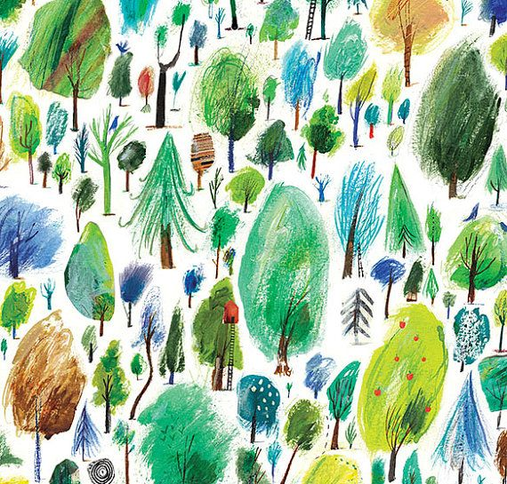 500 Trees A3 Giclee print of my illustration by LauraAHughes