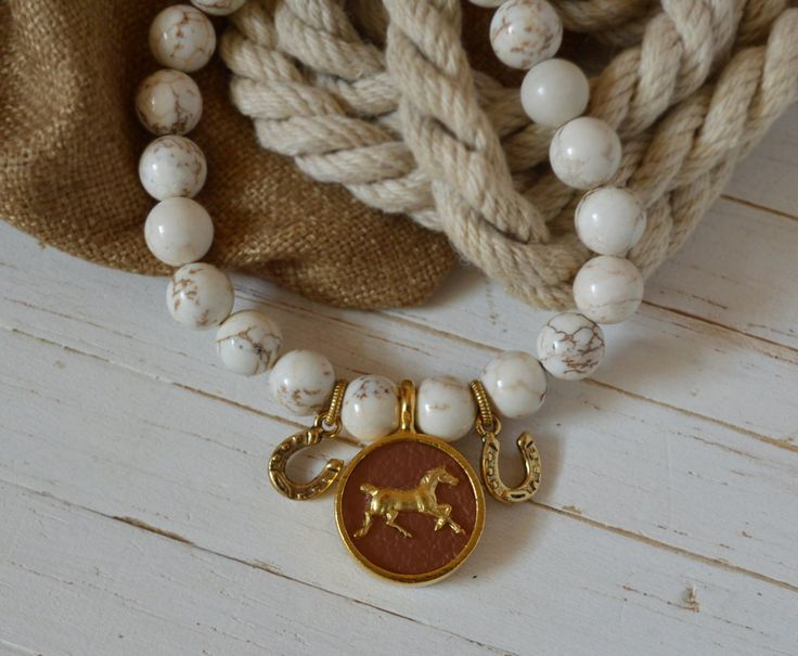 Women's Equestrian SemiPrecious Beaded Charm Bracelet - Saddle Leather & Gold Horse