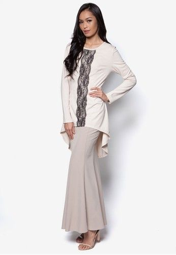Endless Sway Baju Kurung Moden from Zolace in Beige Stick to tradition and build your style around this classy baju kurung modern by ZOLACE. Featuring a solid lace panel on the front for a touch of allure, this atrtire is perfect for any occasion. Top:- Polyblend- Round neckline- Long sleeves- Con... #bajukurung #bajukurungmoden
