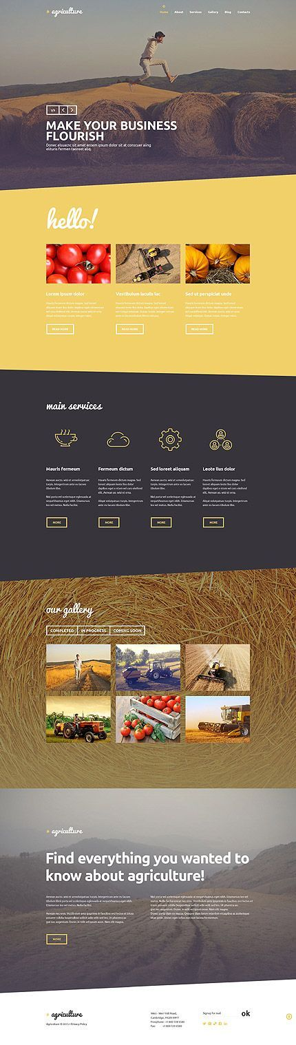 Template 53592 - Agriculture Company Responsive WordPress Theme with Slider, Blog and Gallery