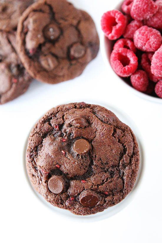 Dark Chocolate Raspberry Cookies Recipe on twopeasandtheirpod.com The chocolate and raspberry combo is divine! These cookies are amazing!