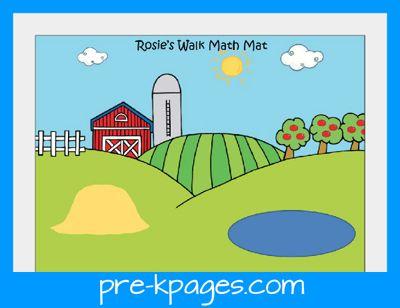 Free printable math mat to go with book Rosie's Walk from www.preschoolspot.com #farm #preschool