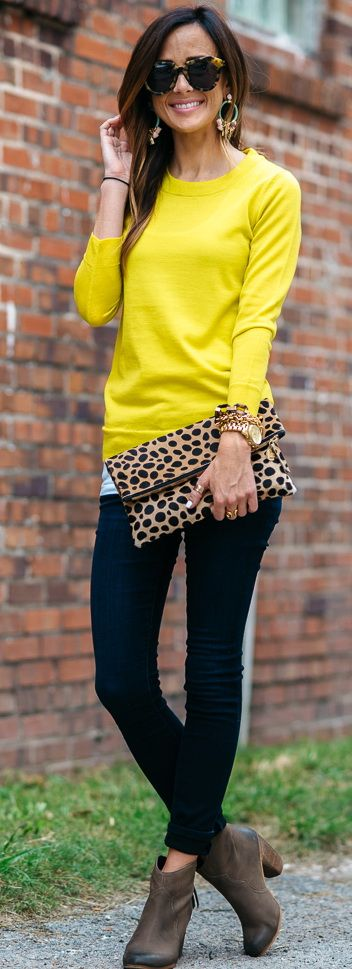 J.Crew Tippi Sweater in Lemon Zest | Joe's Jeans 'Flawless - Honey' Curvy Skinny Jeans | BP. Trott Bootie in Chocolate Different earrings!:
