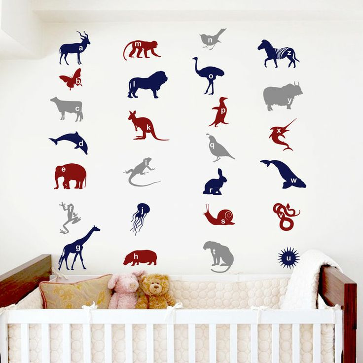 Kids love to learn their ABC's with our Alphabet Animal decals!Animals: Antelope, Butterfly, Cow, Dolphin, Elephant, Frog, Giraffe, Hippo, Iguana, Jelly fish, Kangaroo, Lion, Monkey, Nightingale, Ostrich, Penguin, Quail, Rabbit, Snail, Tiger, Urchin, Viper, Whale, Xiphias, Yak, Zebra.