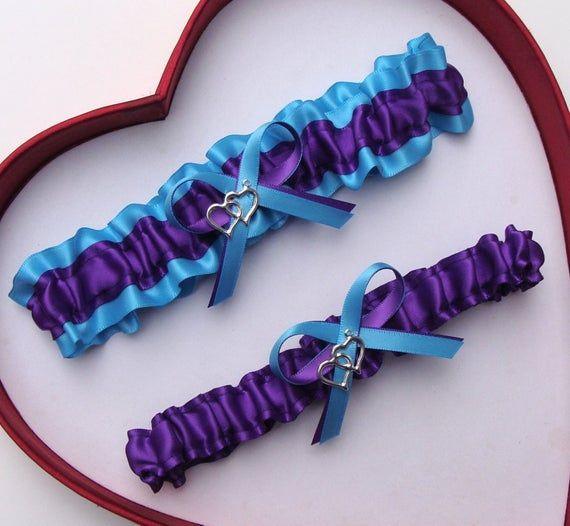NEW Gorgeous Double Heart Aqua Blue White Wedding Garter Prom GetTheGoodStuff A+