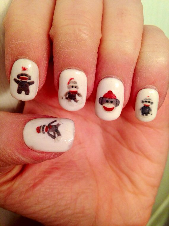 Sock Monkey Nail Decals by PaipurNails on Etsy