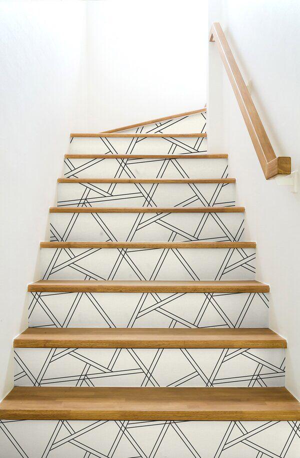 Blanca Geometric 18 L X 20 5 W Peel And Stick Wallpaper Roll Peel And Stick Wallpaper Geometric Wallpaper Wallpaper Stairs