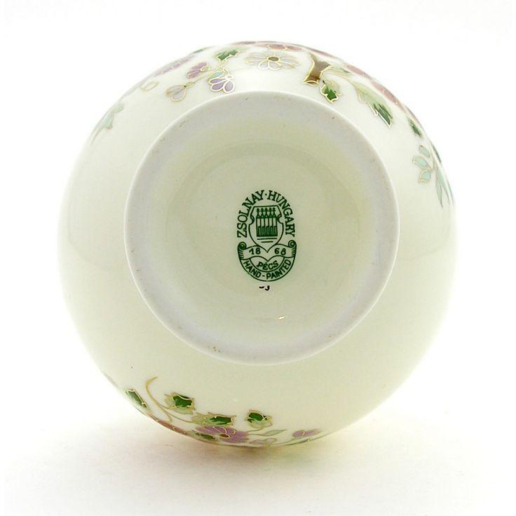 Zsolnay Hungarian Handicrafts Flower Color Decor Porcelain Vase Natural