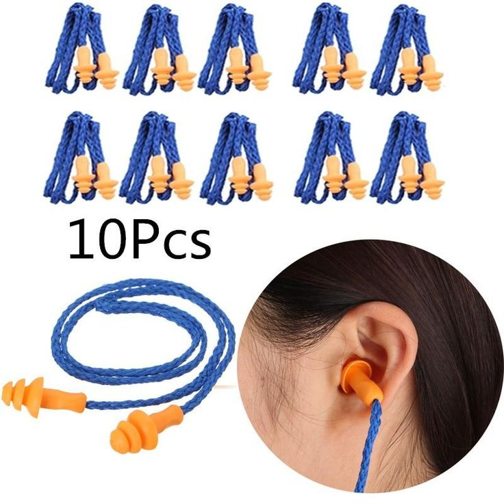 NEW 10Pcs Soft Silicone Corded Ear Plugs (Ear Protector) Reusable Hearing Protection, Noise Reduction, Earplugs, Earmuffs 10 pack soft ear plugs reusable hear