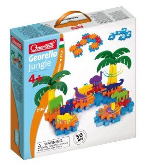 Quercetti Georello Jungle Gears by Wild Science. $54.16. Children learn beginning physics without even realizing it. Make your animals spin by building it on your own - no batteries. Includes gears in two sizes and a handle. Let your imagination run wild with this creative gear set. 50-piece set with 8 animals, 2 palm trees, interlocking plates and meshing gears. From the Manufacturer Quercetti - Intelligent Toys. With 60 years of experience creating educa...