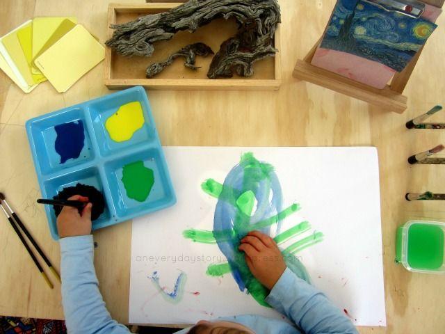 Reggio activities nature and art - Van gogh Starry Night {An Everyday Story} - preschool art provocation.