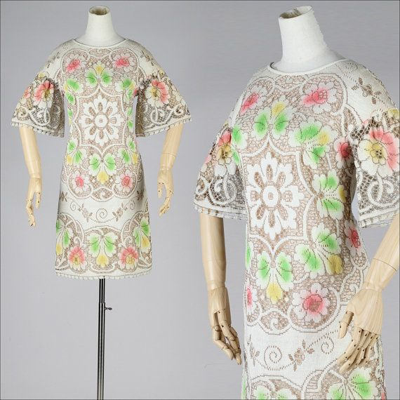 ➳ vintage 1960s dress    * ivory macrame lace * gorgeous splashes of airbrushed color  * blush pink acetate lining  * metal back zipper  * tie