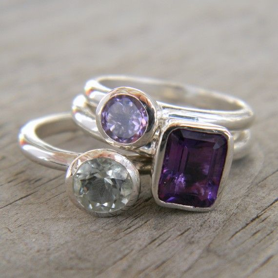 Three Amethyst Stacking Set, Grape Purple, Lavender and Mint Green Gemstone Rings In Sterling Silver  $318
