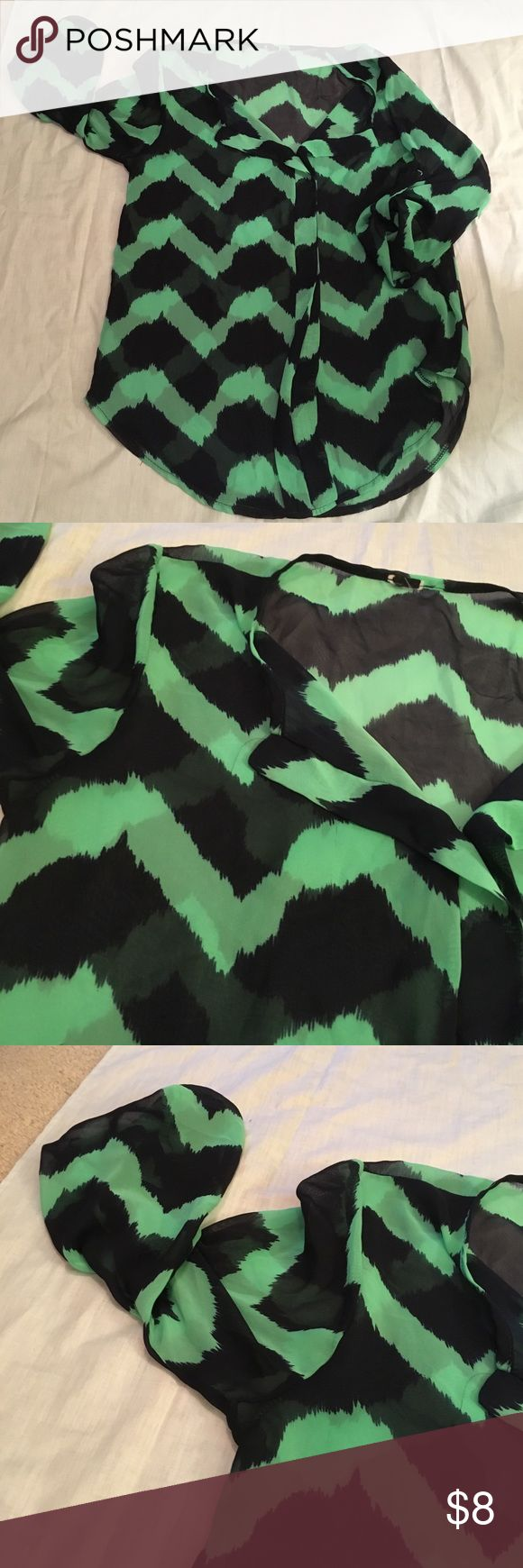 Chevron Blouse Green and Navy chevron Blouse. Fabric is somewhat see through. Tag is blacked out so I cannot see the brand but it is a great quality. Worn once! Tops Blouses