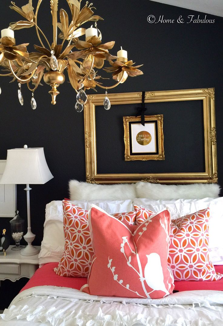 White Comforter And Lamps With Coral Pillows From HomeGoods Make A  Beautiful Contrast On This Dark