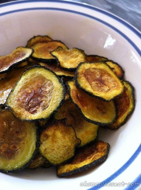 A healthy paleo snack. Baked zucchini chips.  Some other interesting food ideas on the page also