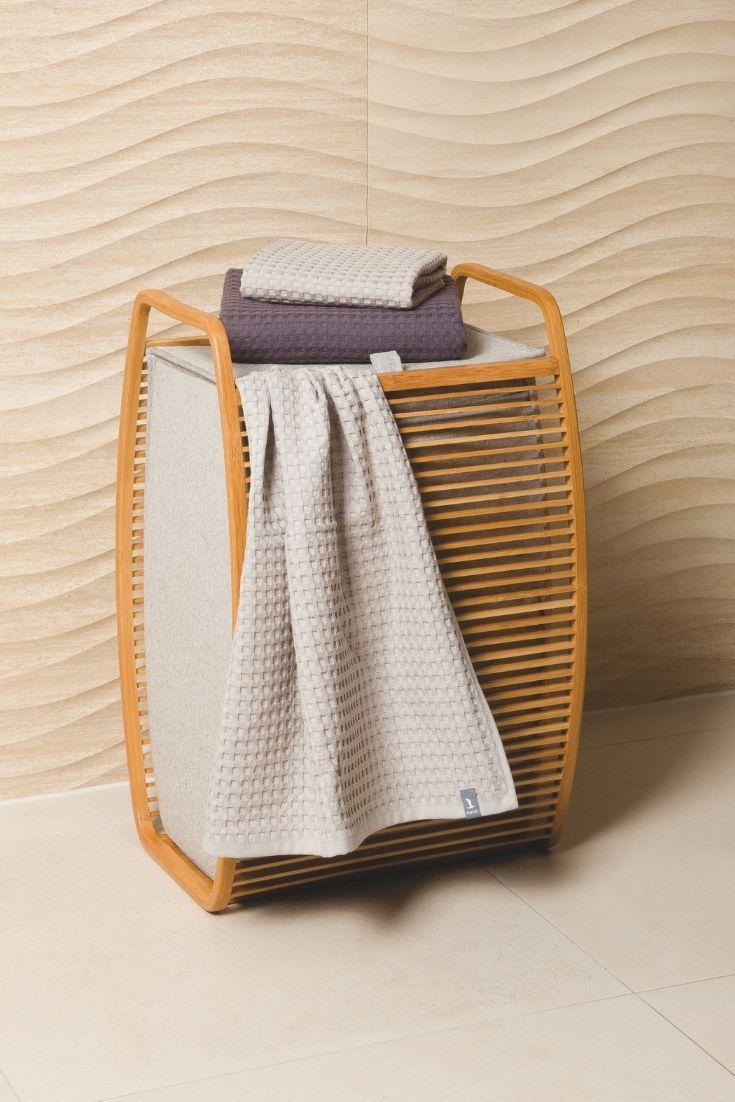 Stilvoll Schmutzwasche Sammeln Mit Unserem Waschekorb Aus Bambus Und Canvas Von Moeve Waschesammler Waschekorb Aufbewahrung