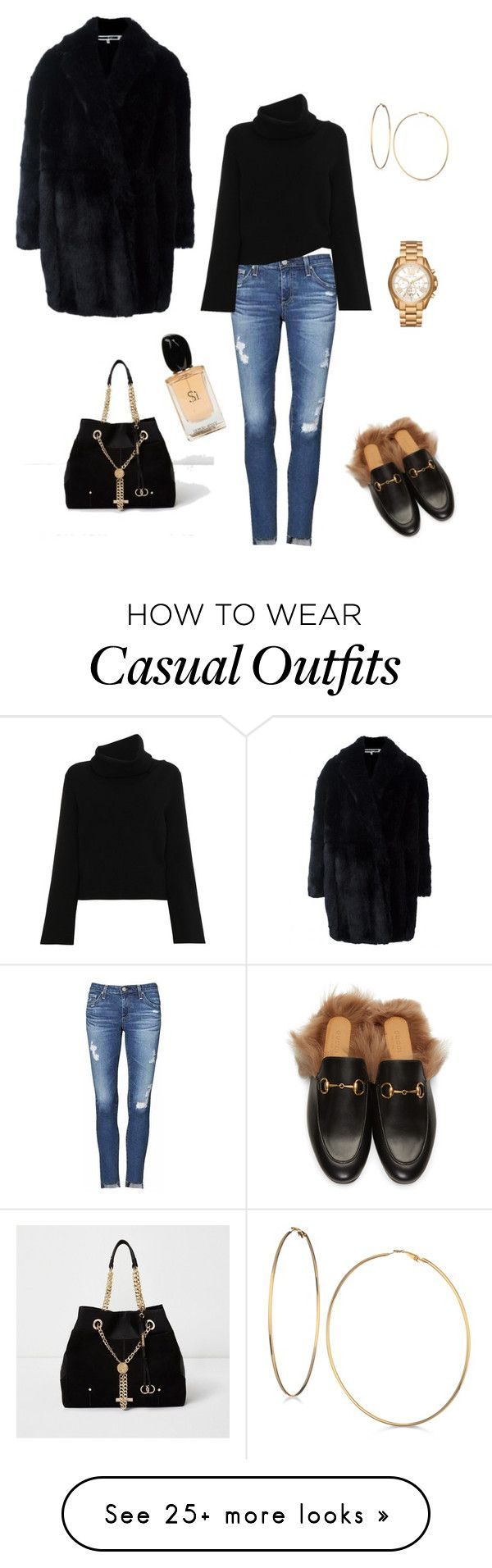 """""""casual comfy mum"""" by claredurrant on Polyvore featuring AG Adriano Goldschmied, Chloé, McQ by Alexander McQueen, Gucci, River Island, GUESS, Michael Kors and Giorgio Armani"""