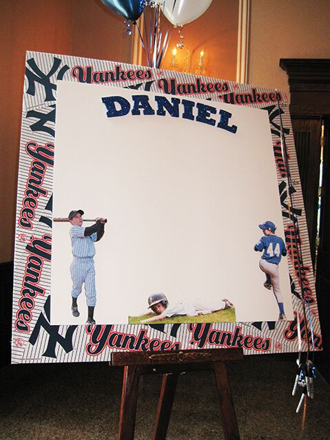 Yankees Sign in Board Baseball Themed Sign in Board with Yankees Pennant Border