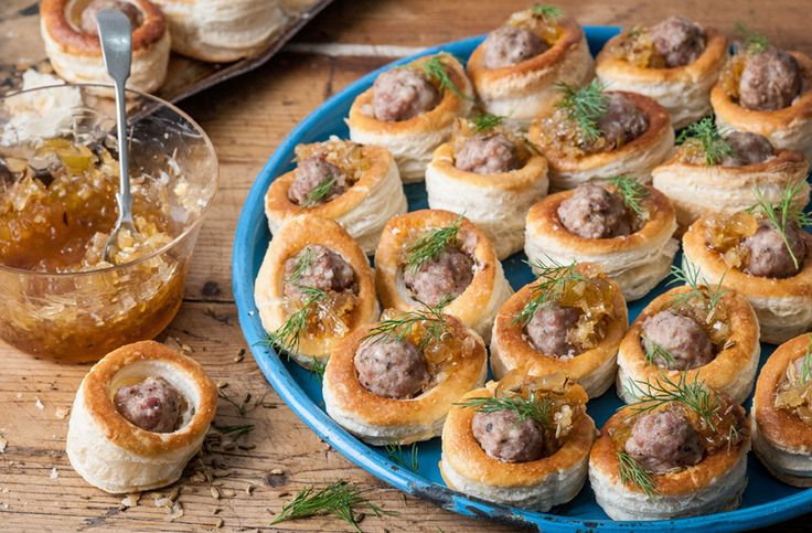 These sausage vol-au-vents with onion and marmalade chutney by Colin McGurran make a perfect party snack. | Tesco