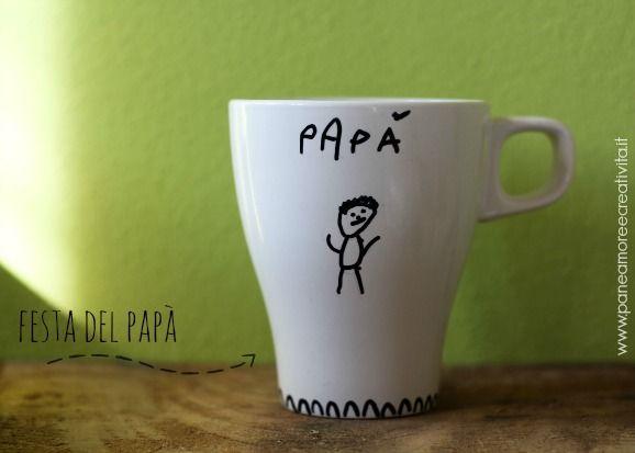 lavoretto festa del papà- tazza con disegno papà
