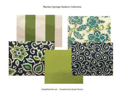 Mariner Springs Indoor/ Outdoor Collection. fabrics for outdoor hanging beds, pillows, and cushions