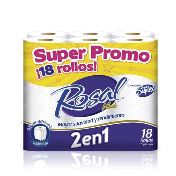 Papel higiénico Rosal Plus 2 en 1, triple hoja x 18 Und