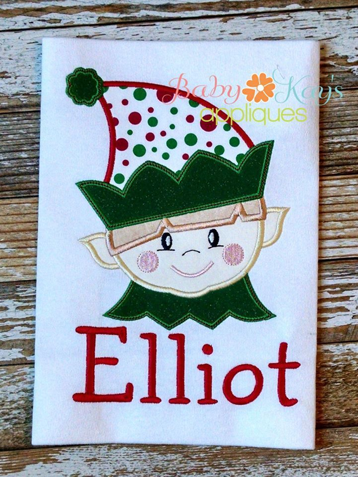 Elliot Elf Face - Elliot Elf is our cutest little elf guy around. He is the matching brother to our Ellie Elf. Use these adorable Elf Appliques in your next Christmas project.