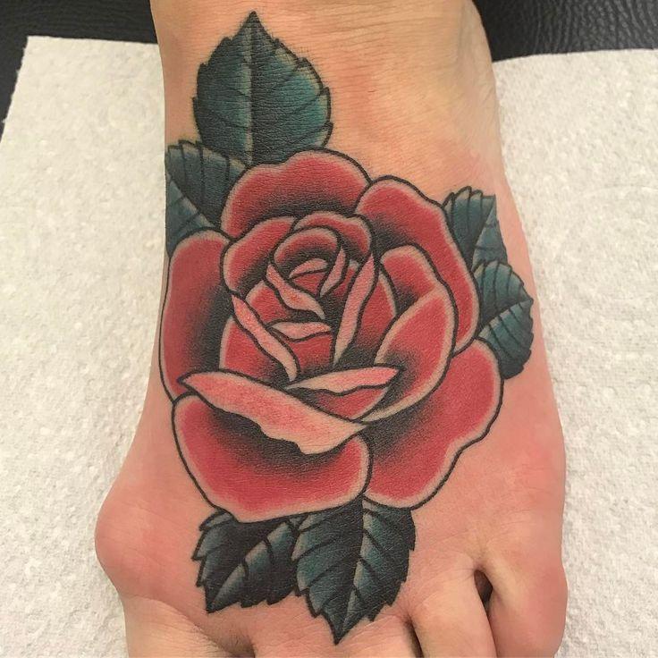 Photo by (will_tattoo) on Instagram |  #traditionaltattoo, #oldschooltattoo, #rosetattoo, #tattooing, #tattoos, #tattooartist, #inkedup, #foottattoos, #gorleston