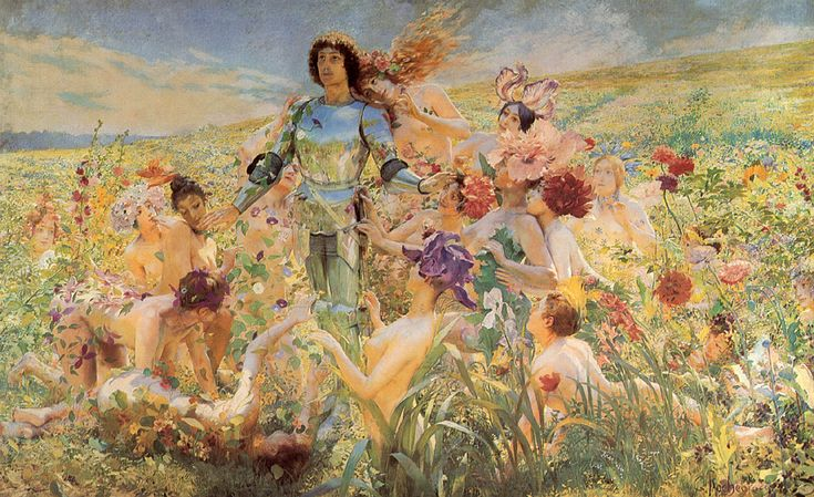 """Georges Antoine Rochegrosse, """"The Knight of the Flowers"""""""