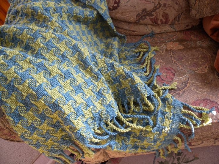 Small colour-and-weave blanket with twisted fringe  - weaving and photo by Holly Hardman