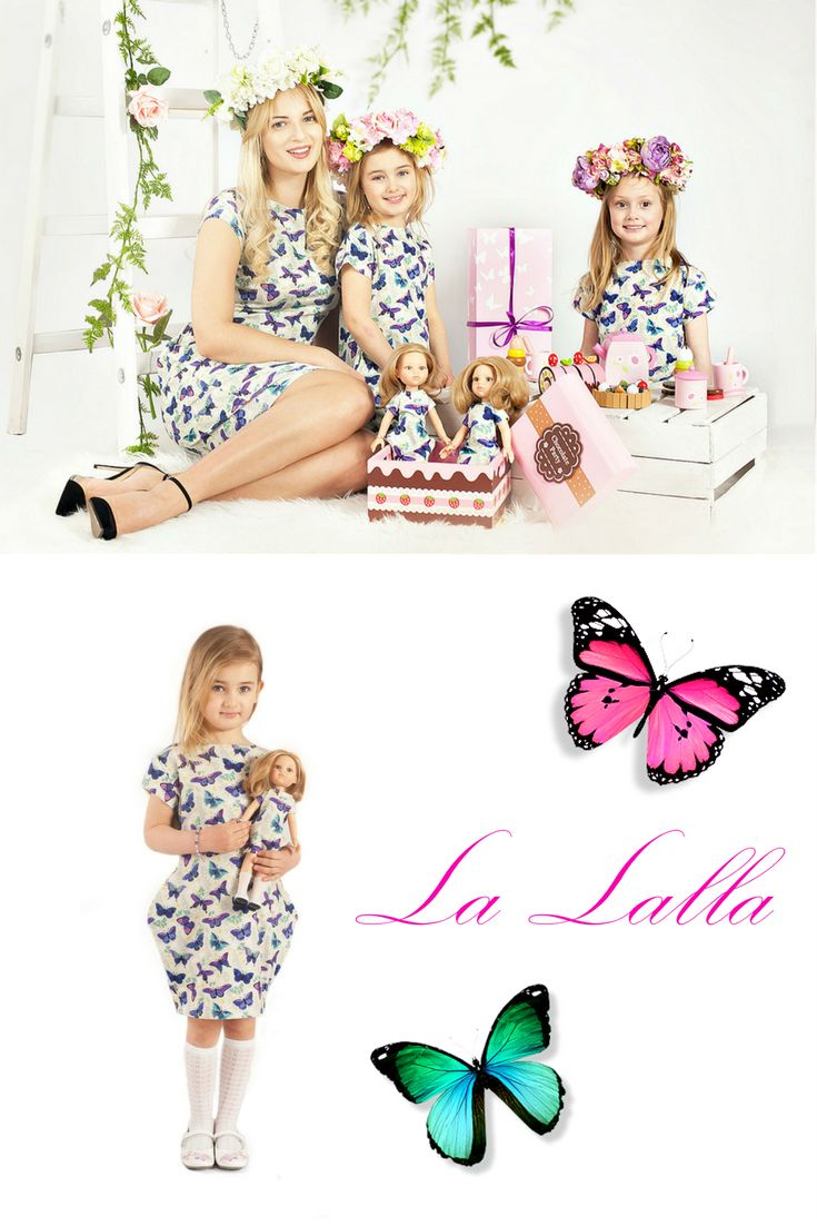 Amazing dolls with custom features, like hair, eyes and outfit. Unforgettable memorabilia.  #butterfly #pattern #dress #kleid  #sukienka #present #gift #geschenk #idea #inspiration #birthday #baby #floral   Mother, daughter and doll in the same dress. #motyl #schmetterling #butterfly #wreath #flower #doll #outfit #dress #kleid #kleidung #puppe #toys #customized #custom #inspiration #birthday #easter #present #gift #prezent #poupée