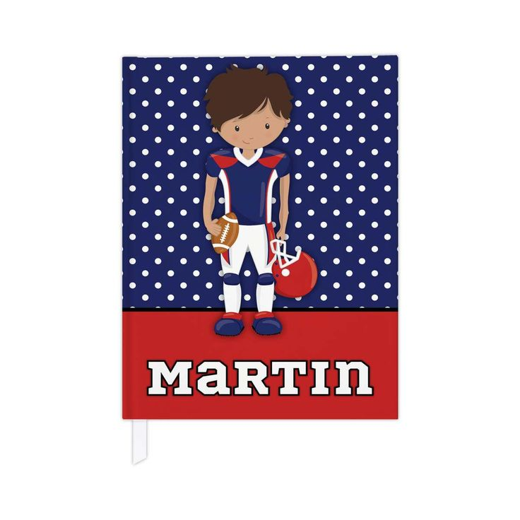 Hardcover journal in football theme, personalized kids journal, lined journal or blank journal, football gifts - red & blue/brown skin by PaperKKids on Etsy