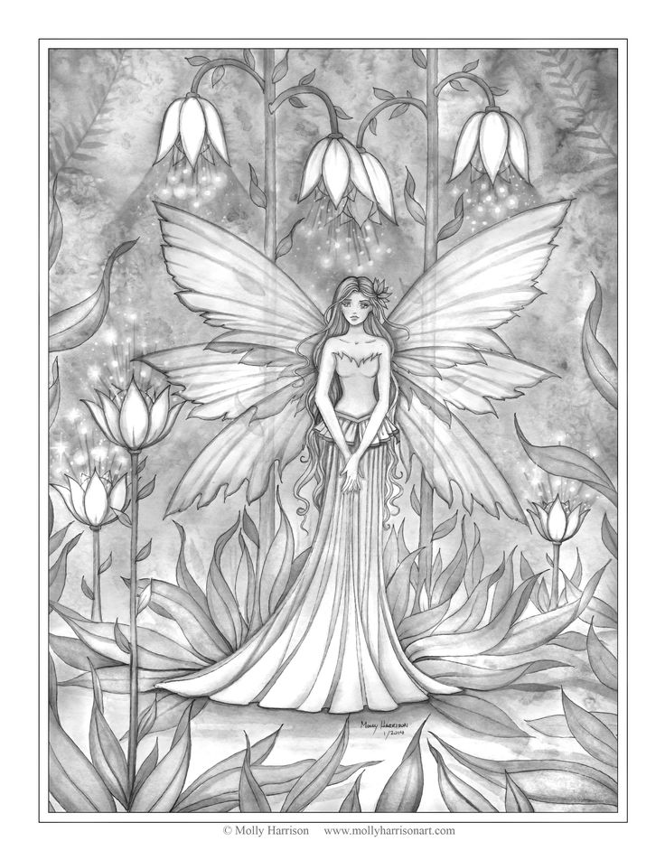 illuminated garden free fairy coloring page by molly harrison - Fantasy Coloring Pages Adults