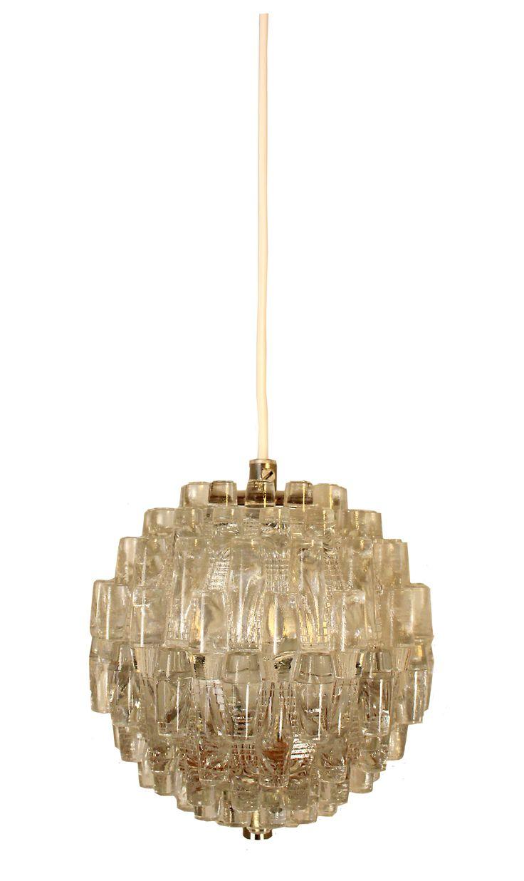 Antik taklampa i glas. Designlampa.